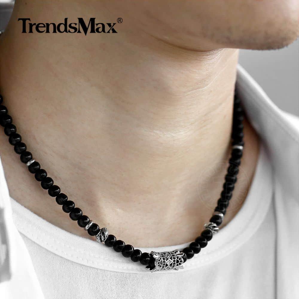 Wood Bead Choker Necklace For Men Women CZ Crown Pendant 16-29 inch Adjustable