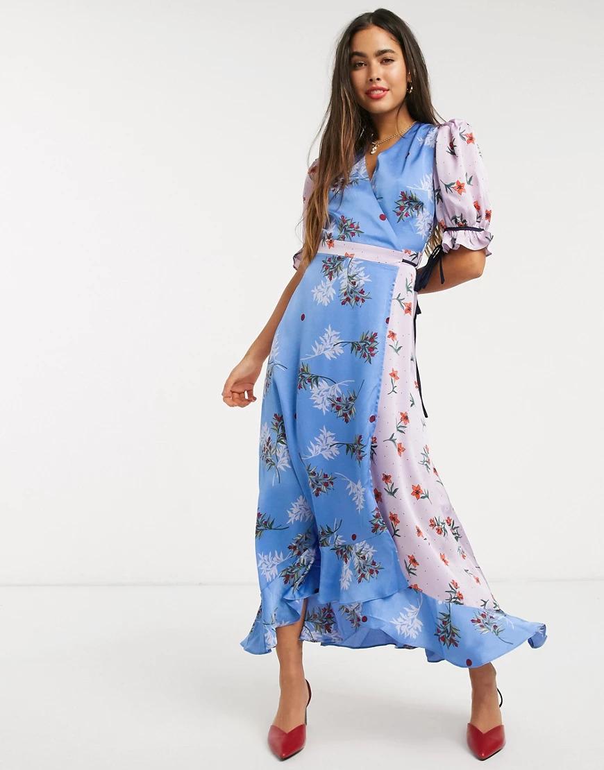 Wrap Front Maxi Dress In Pastel Floral Print Mix-blue