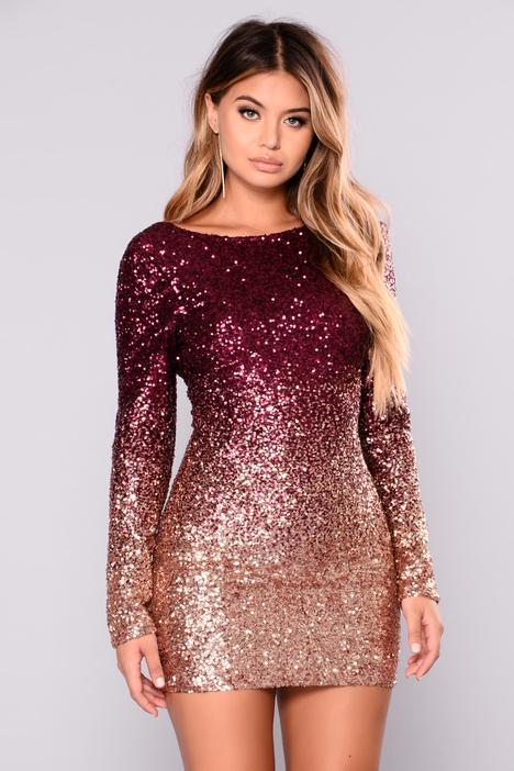Wynn Sequin Dress - Burgundy/Rose Gold