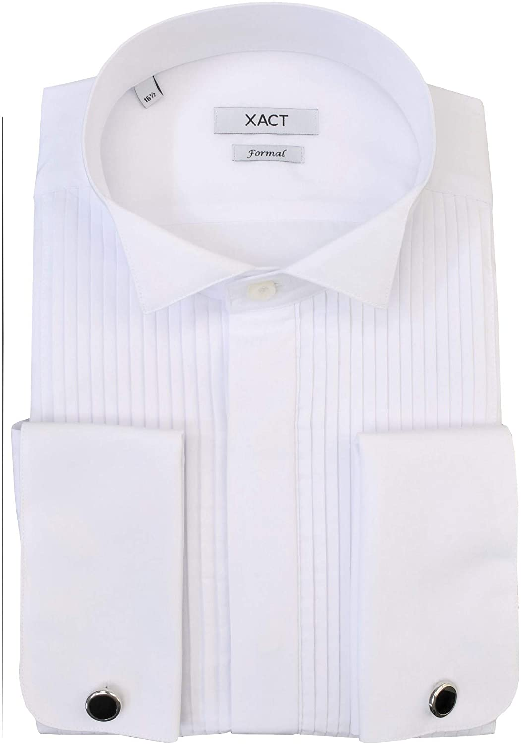 Xact Men's Formal Tuxedo/Dress Shirt with Double Cuff and Cuff Links