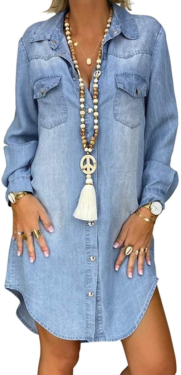 YILEEGOO Womens Long Sleeve Vintage Lapel Buttons Denim Jean Shirt Dress