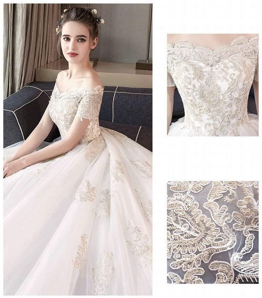 YT-ER Fantasy Princess Court Retro Style Wedding Dress Large Size White One Shoulder long Trailing Bride Wedding Dress Lace off Shoulder Dress, White, 3XL