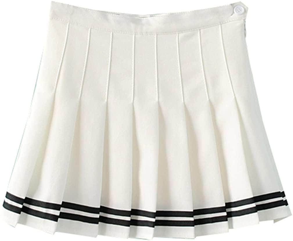 Yasong Women Girls Short High Waist Pleated Skater Tennis Skirt School Skirt