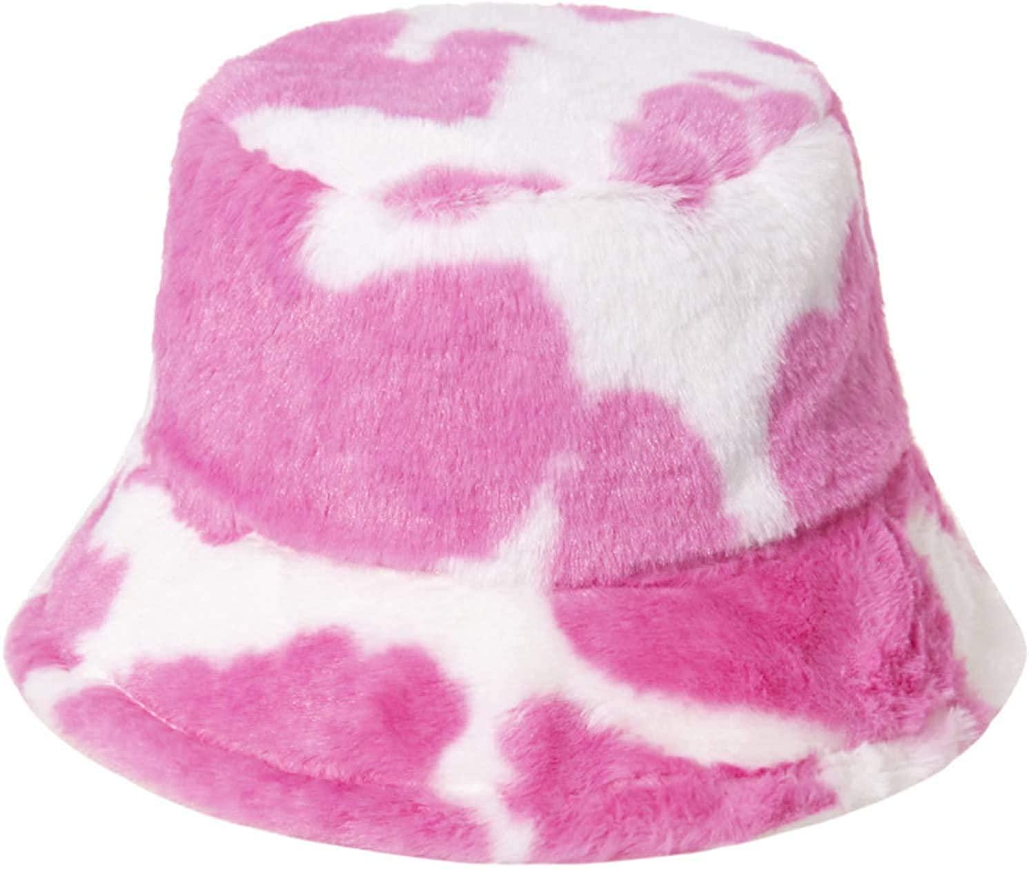 Yinitoo Winter Warm Fluffy Plush Bucket Hat Milk Cow Print Panama Fisherman Cap for Women Men