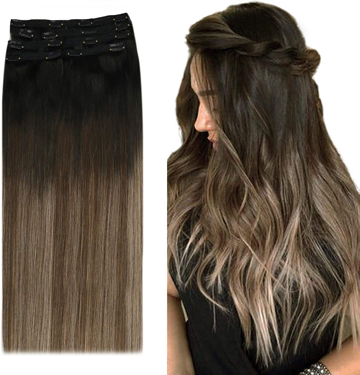 YoungSee 12inch Clip in Human Hair Extensions Balayage Remy Clip on Extensions