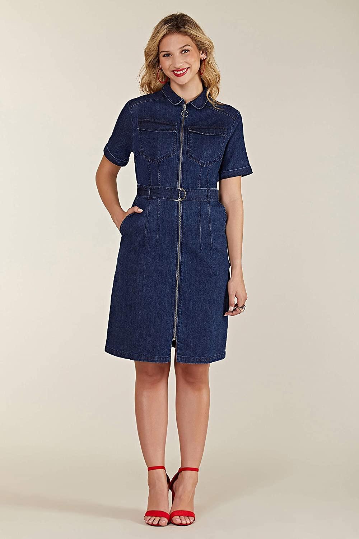 Yumi Blue Denim Shirt Dress with Zipper