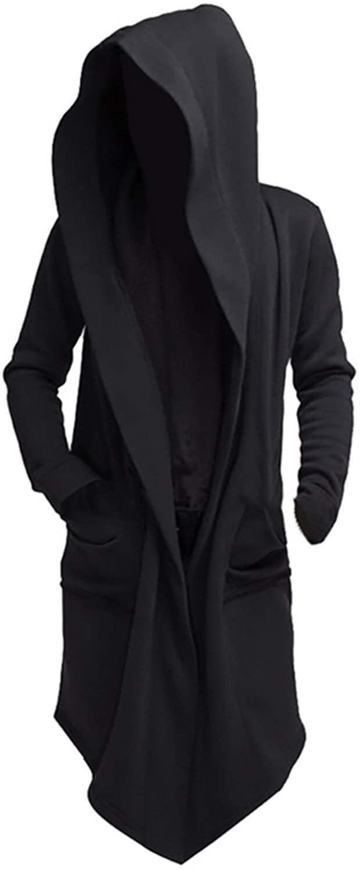 Yunbai 2020 Men Mantle Hooded Sweatshirts Unisex Casual Open Stitch Hooded Long Cloak Cape Coat Men Women Solid Pocket Loose Cloak Coat