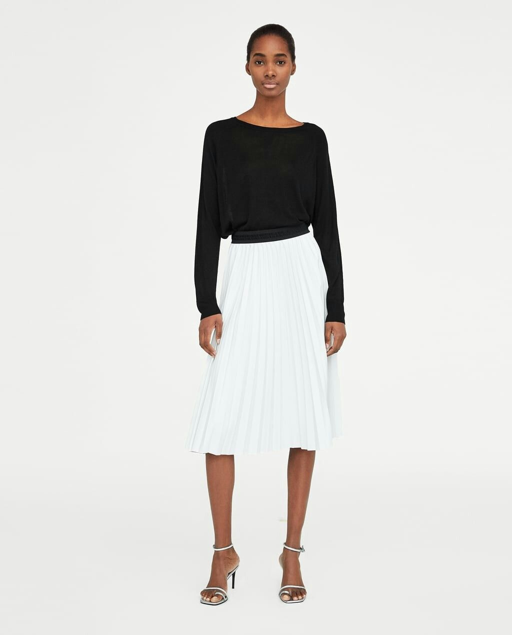 Zara faux leather white pleated skirt