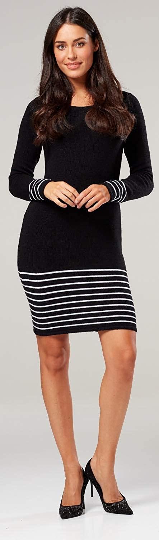 Zeta Ville Women's Maternity Knitted Midi Jumper Dress Long Sleeves