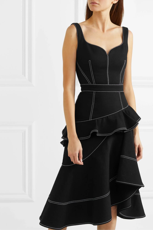 alexander mcqueen asymmetric ruffled denim dress black