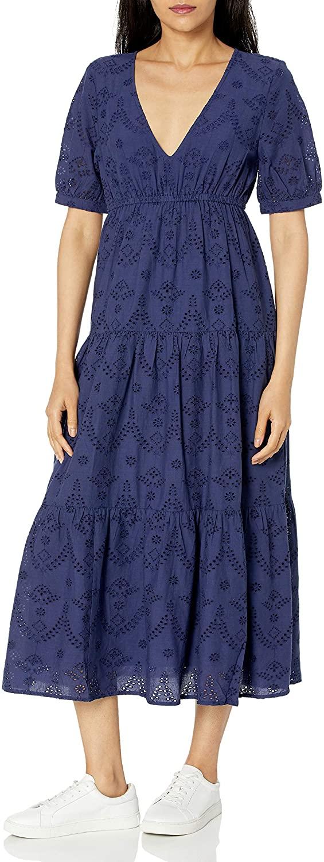 The Drop Women's Imogen Short Sleeve Tiered V-Neck Eyelet Cotton Midi Dress