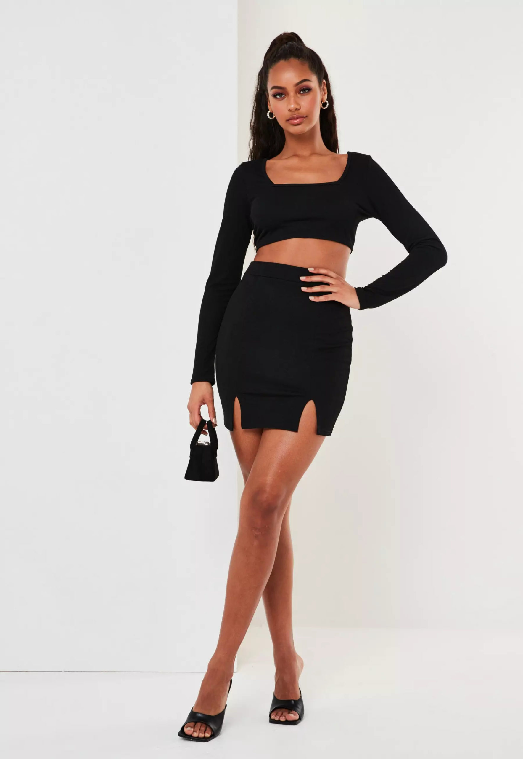 black crop top and mini skirt co ord set