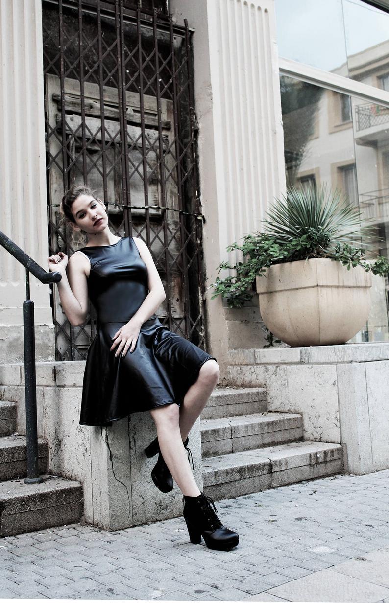 black gothic dress pvc dress faux leather dress black skater dress | goth dress little black dress