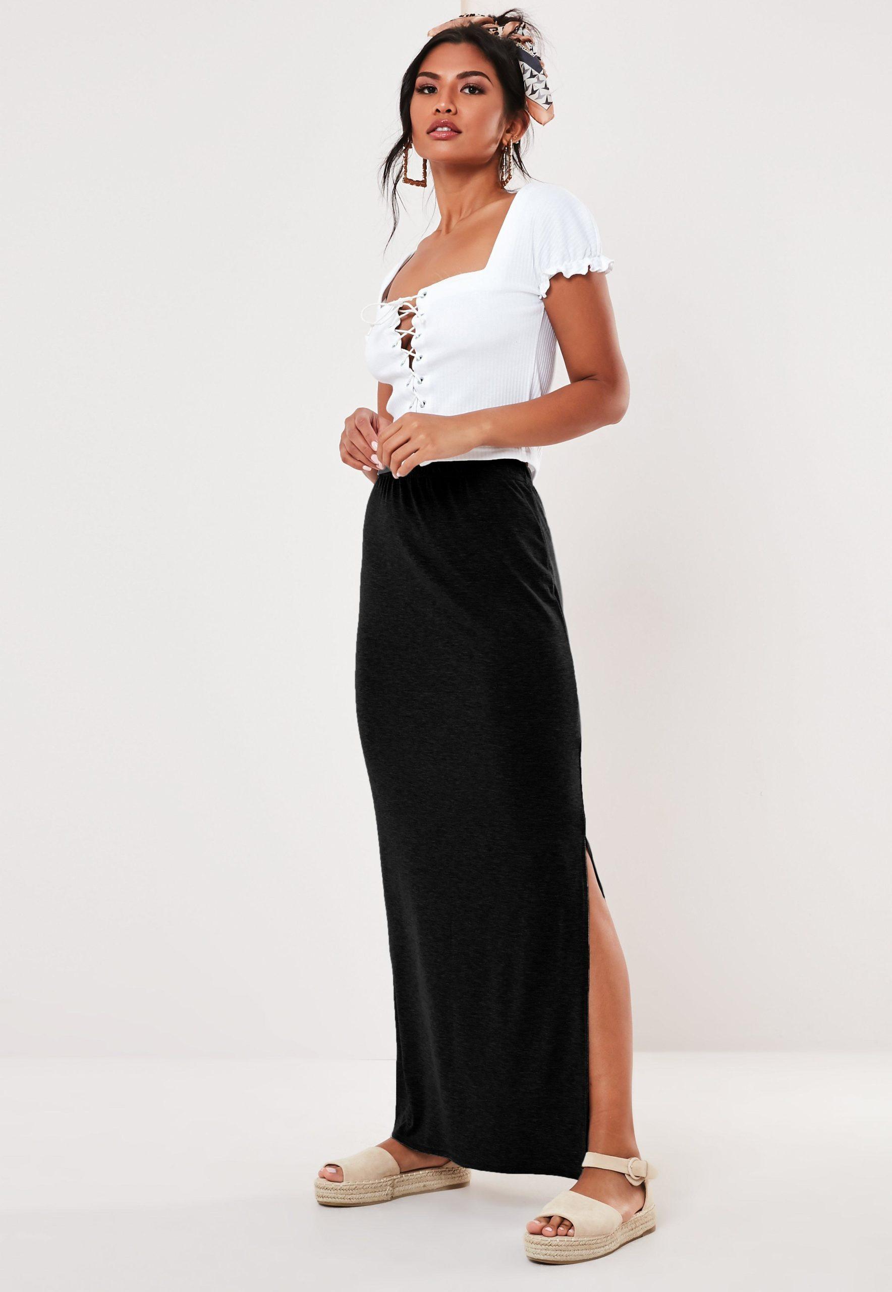 black jersey maxi skirt