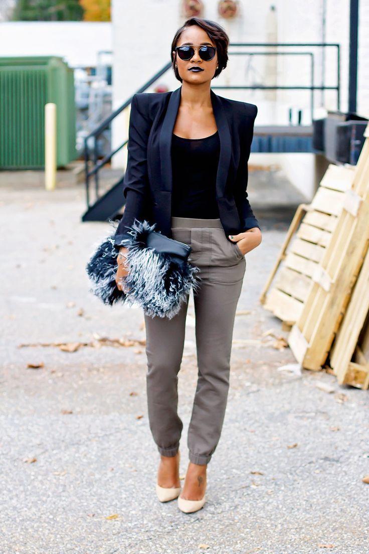 sweatpants with blazer