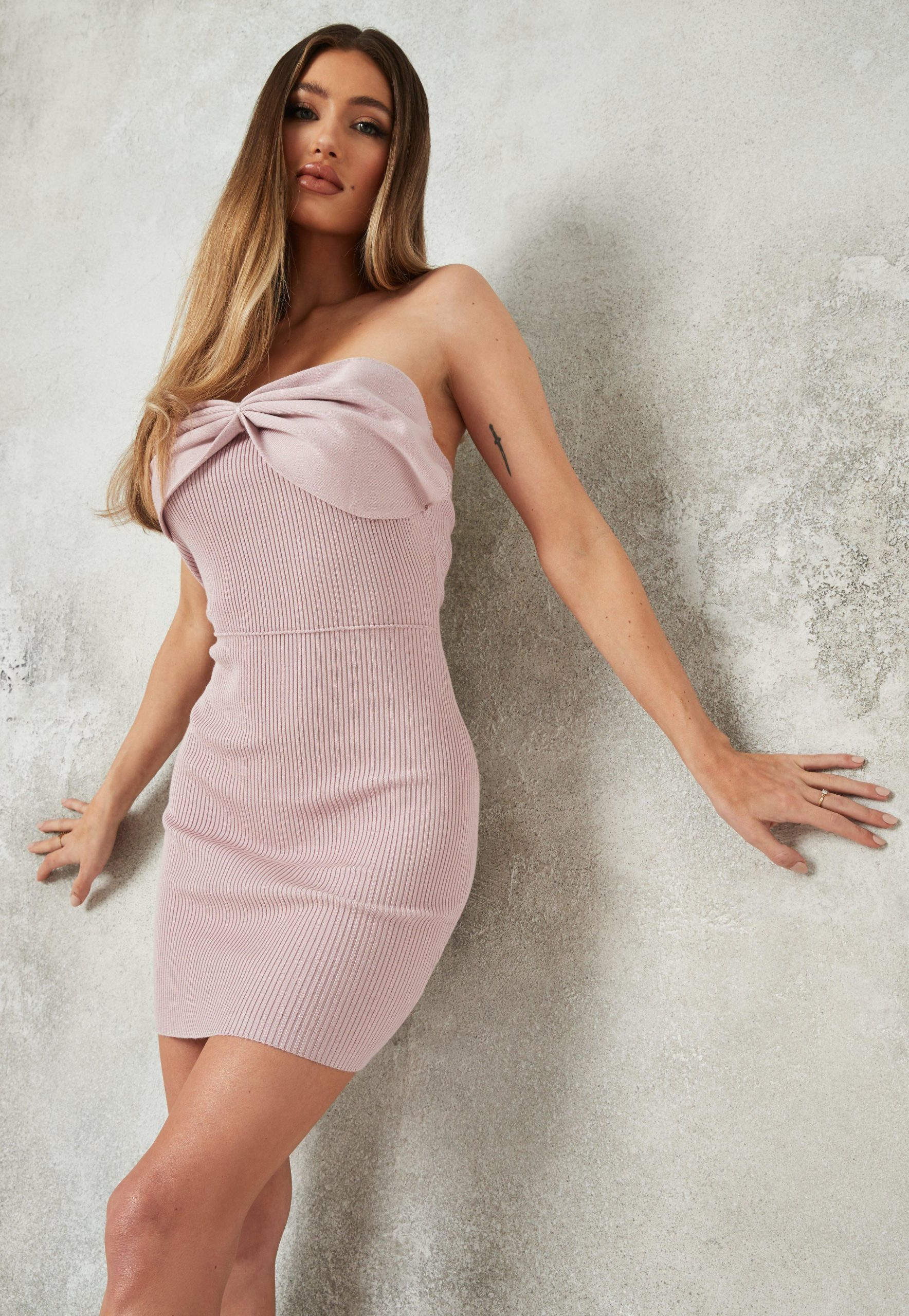 blush bow front bandeau knit mini dress