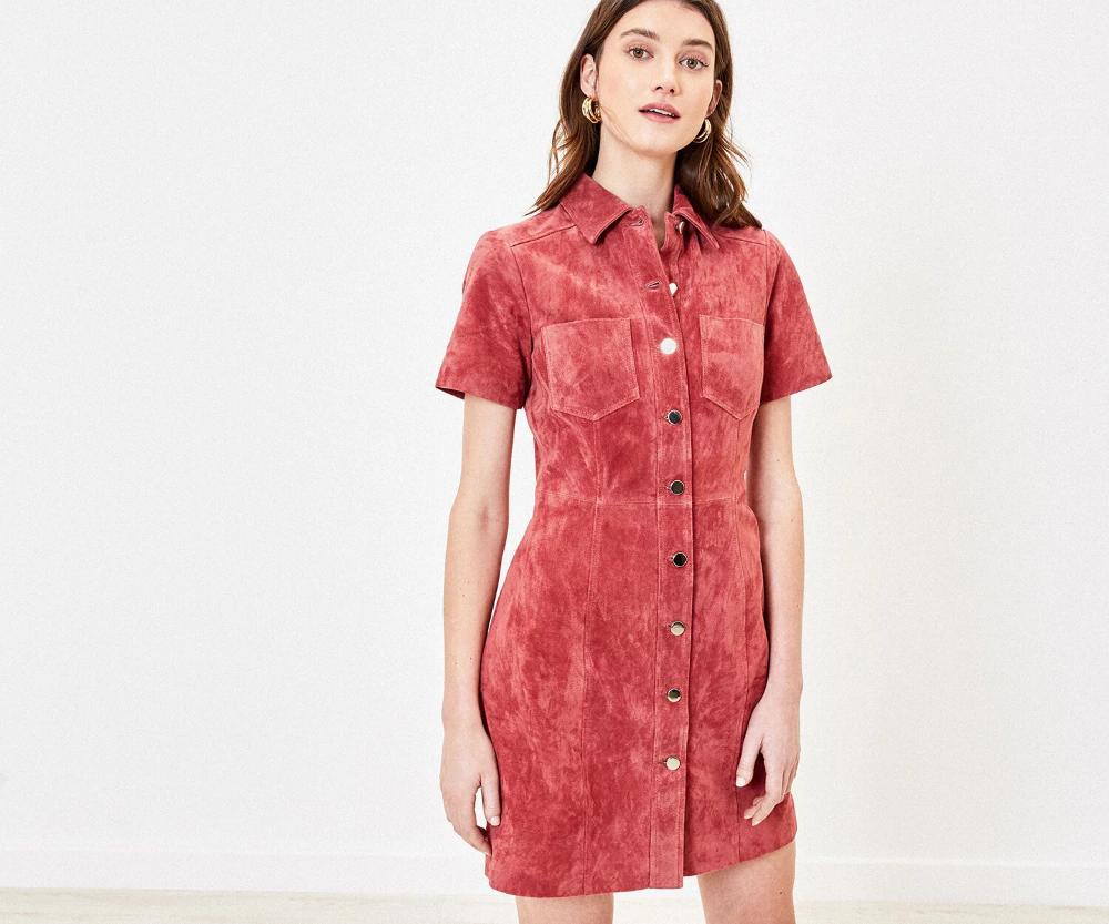 light pink Suedette Shirt Dress