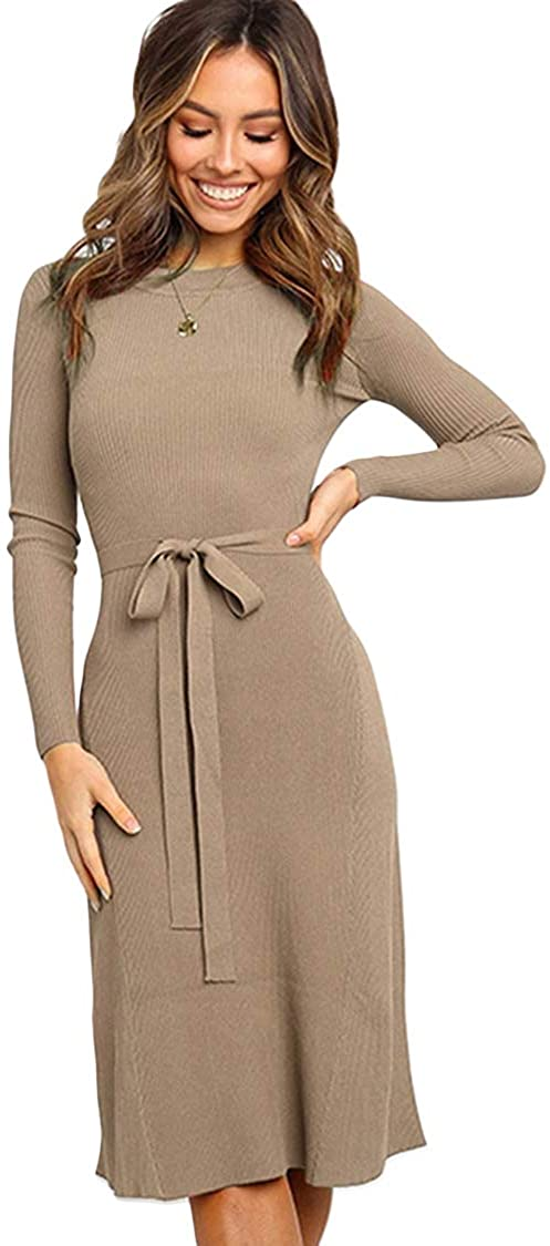 carprinass Women's Knitted Jumper Dress Long Sleeve Round Neck Slim Fit Ribbed Knitwear Midi Dresses Solid Color Khaki