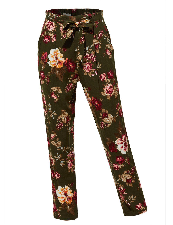 casual floral design print pants