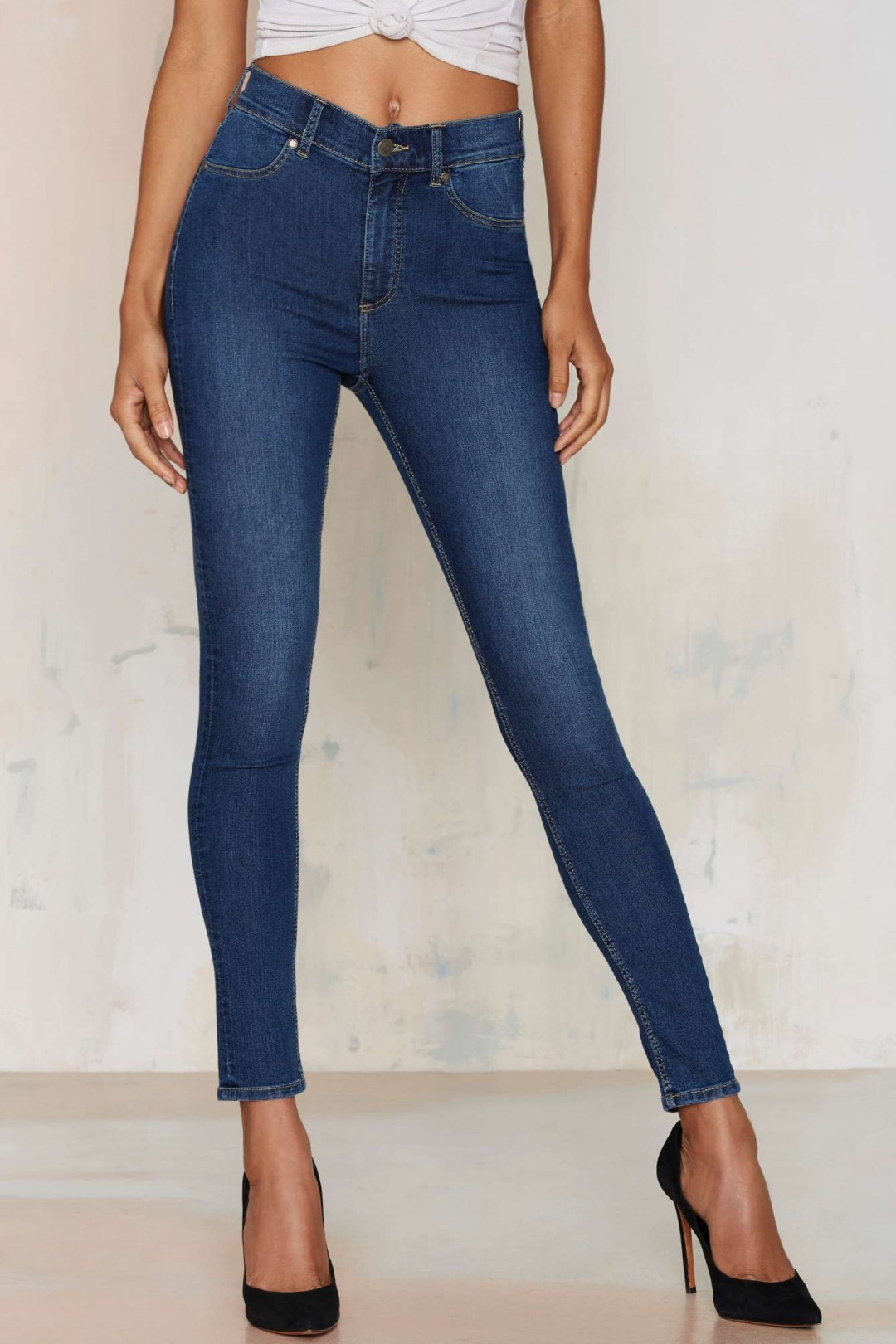 cheap monday blue skinny jeans