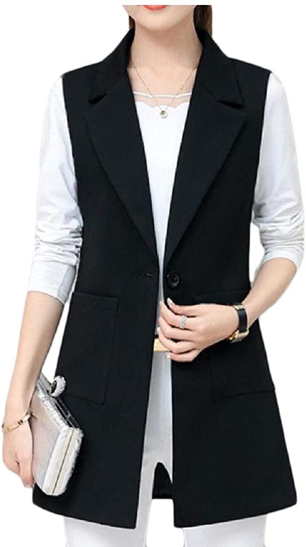 dahuo Womens One Button Long Vest Wasitcoat Sleeveless Blazer