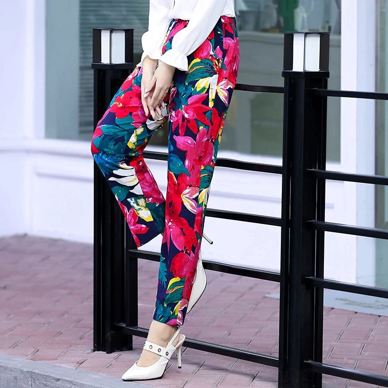 2020 Summer Women Pants Beach Wear Floral Print Plaid Pants Plus Size 5XL Women Long Pants Female Korean High Waist Trousers