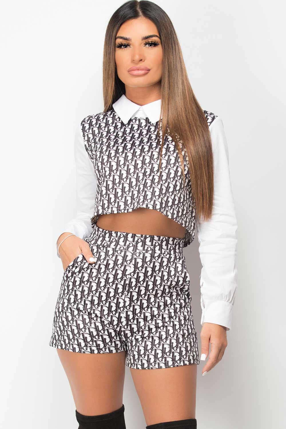 Crop Top And Shorts Two Piece Set Designer Inspired
