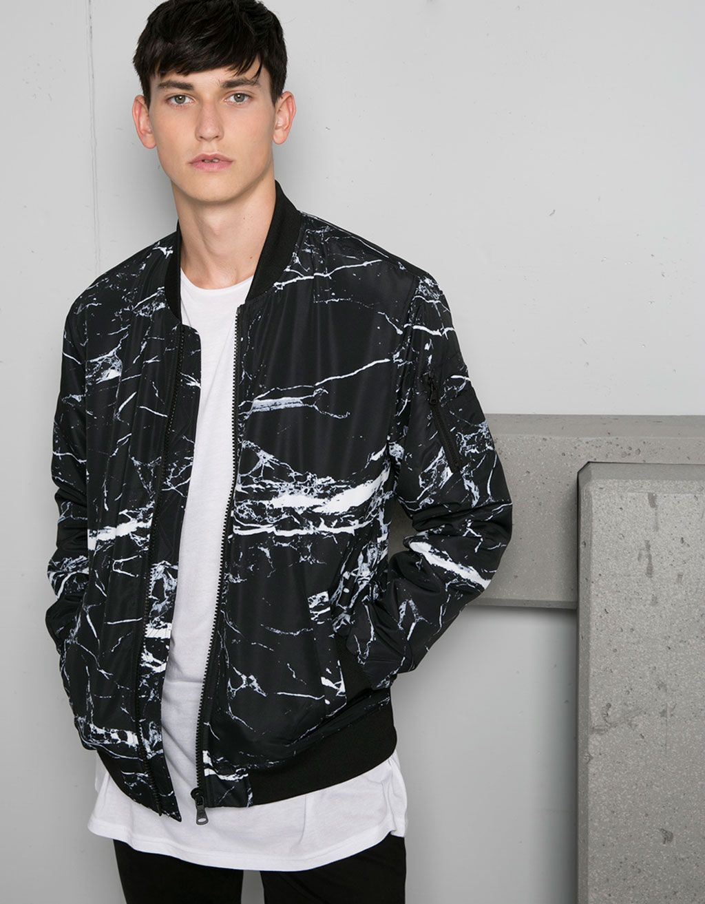Polyester printed bomber jacket