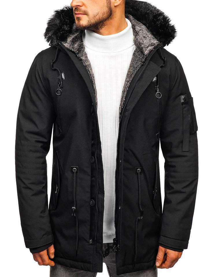 Men's Black fabric Parka with Fur Hoodie