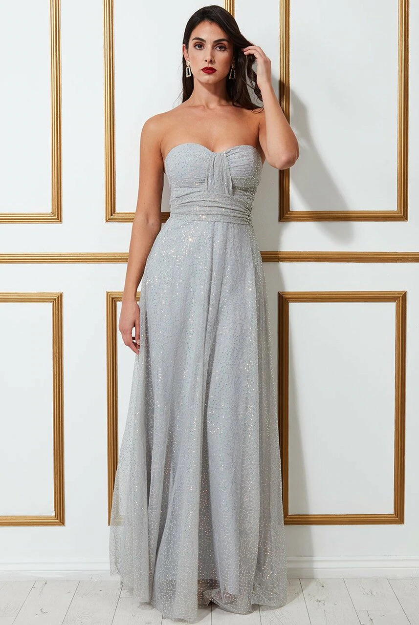 Goddiva Bandeau Sequin & Mesh Maxi Dress