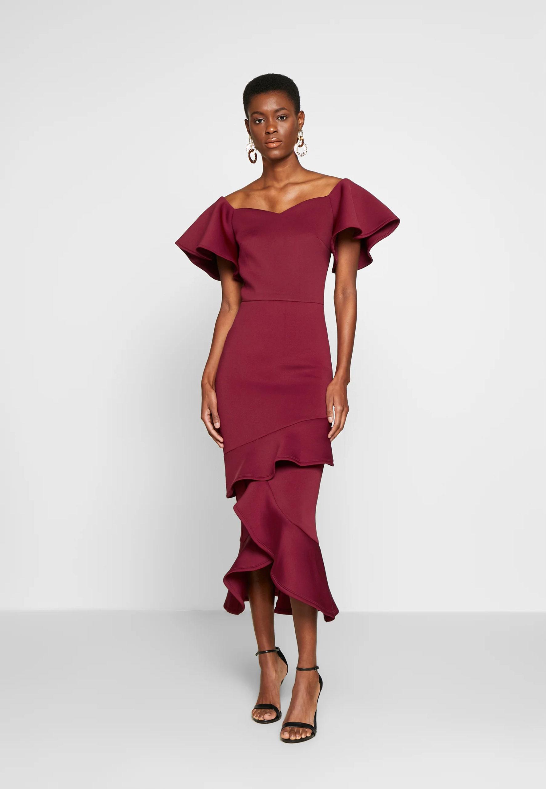 True Violet Tall BARDOT MIDI DRESS - Cocktail dress Party dress