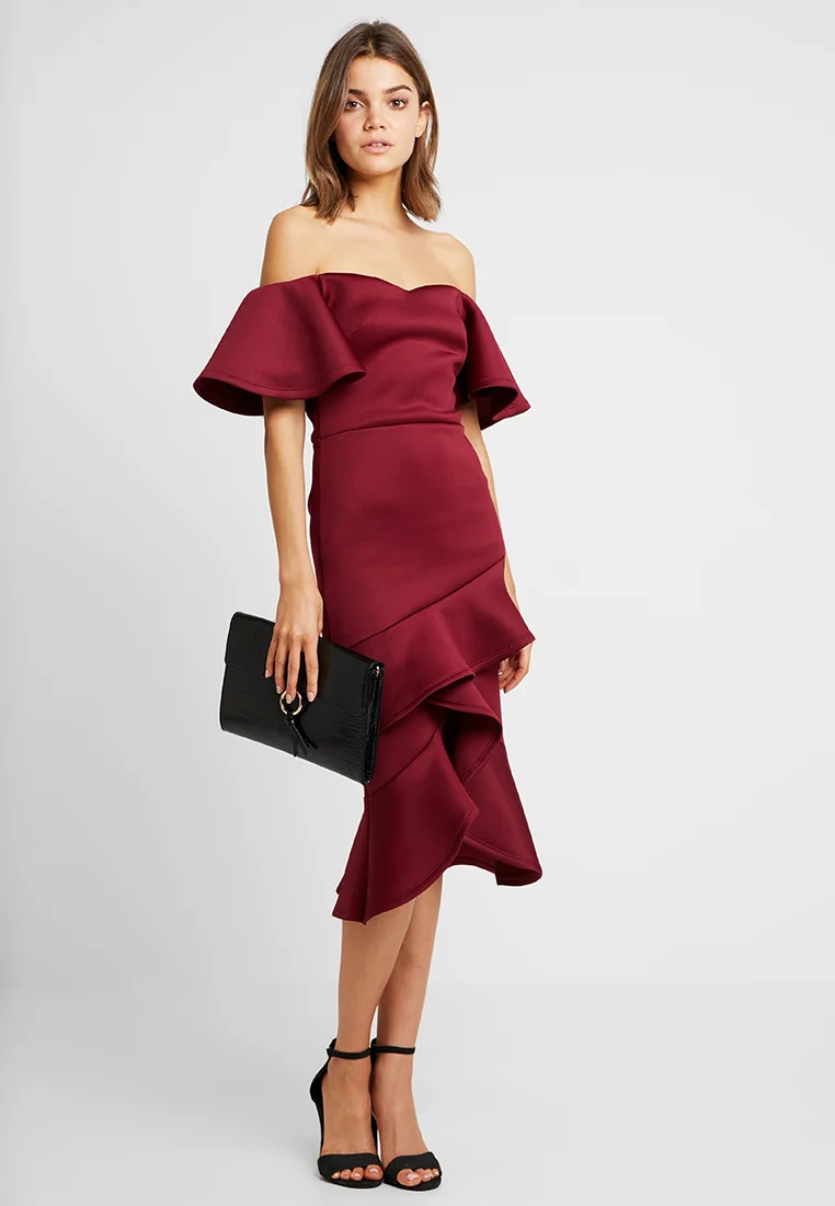 True Violet OFF THE SHOULDER FRILL BODYCON - Cocktail dress / Party dress