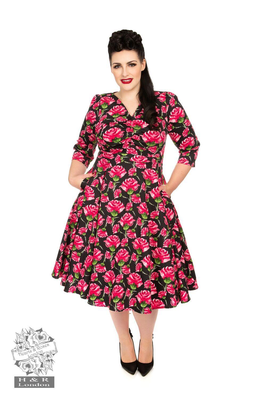HR Red English Rose Swing Dress