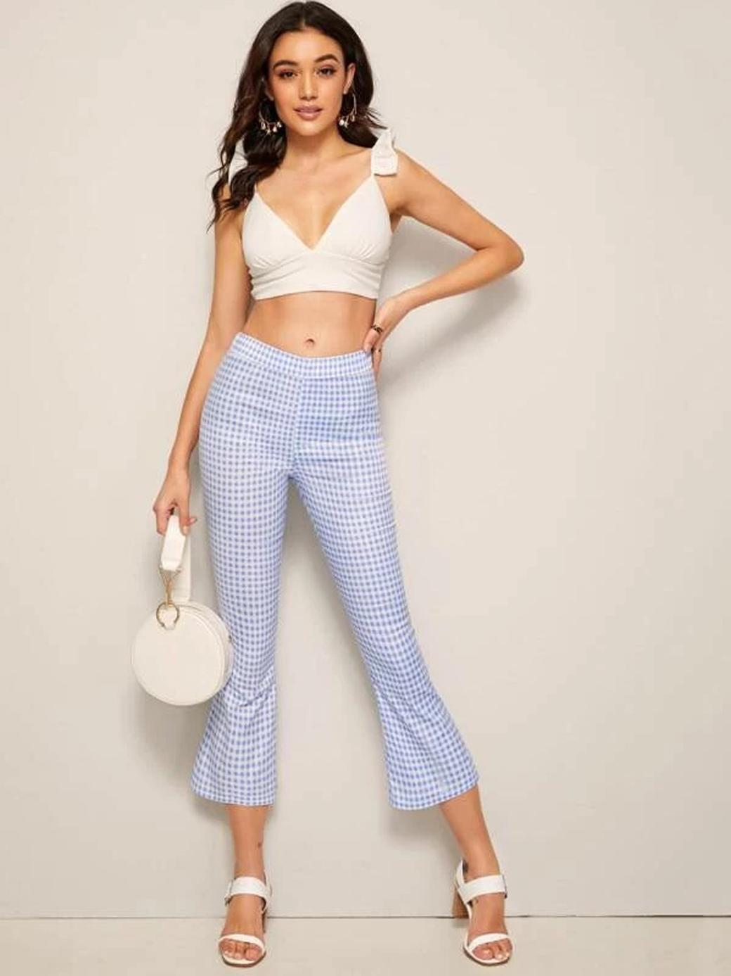 SHEIN Elastic Waist Gingham Trousers