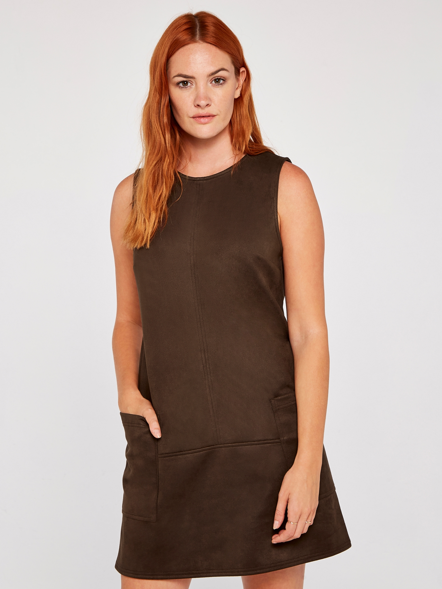 BROWN SUEDETTE 2 PATCH POCKET SHIFT DRESS Special Price