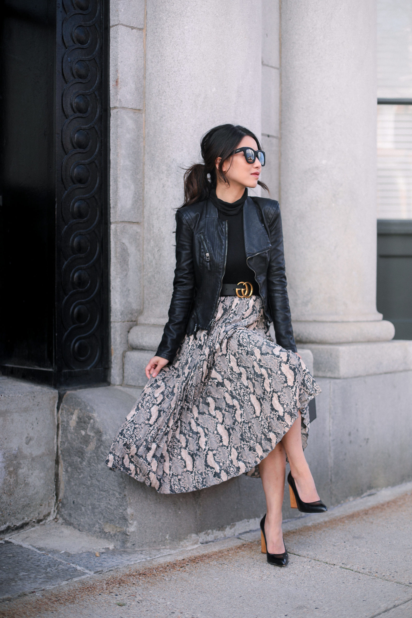 Faux Leather Jacket with a Flowing Skirt