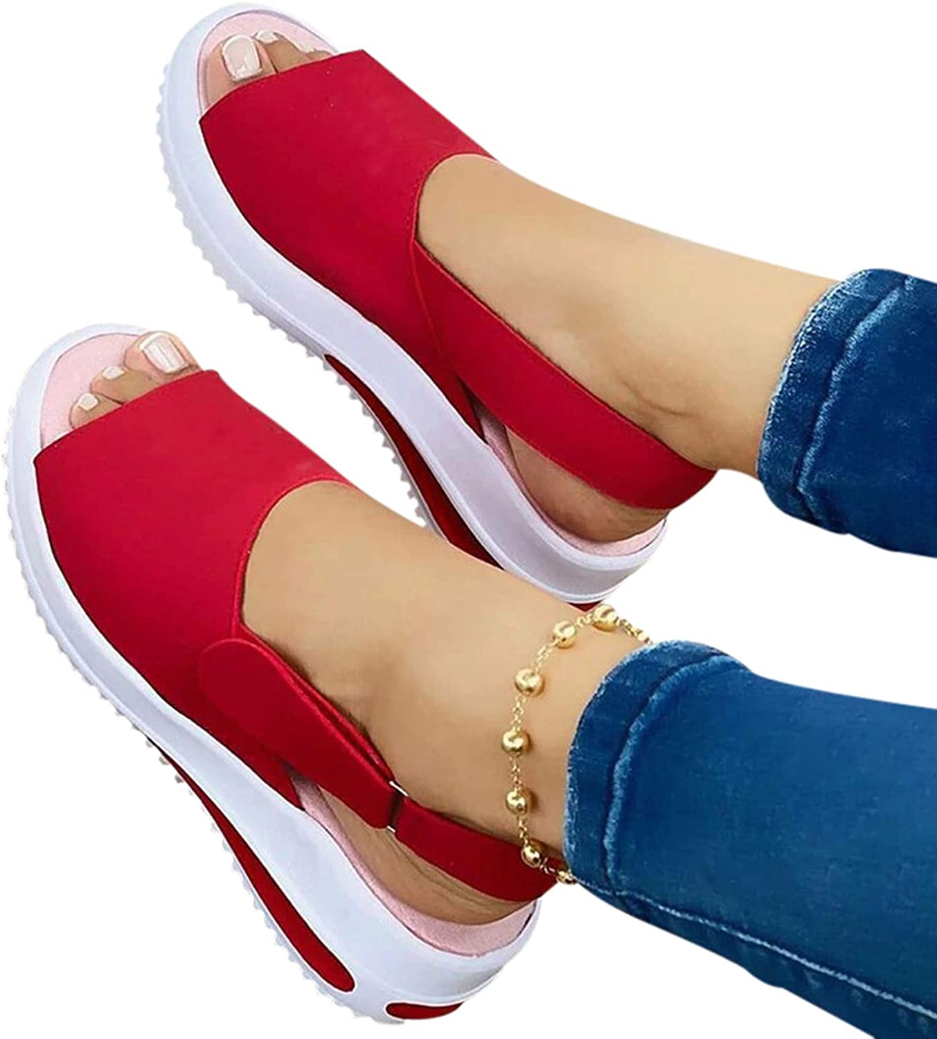 ish Mouth Flat-heeled Beach Ladies Sandals Casual Slope Female Sandals