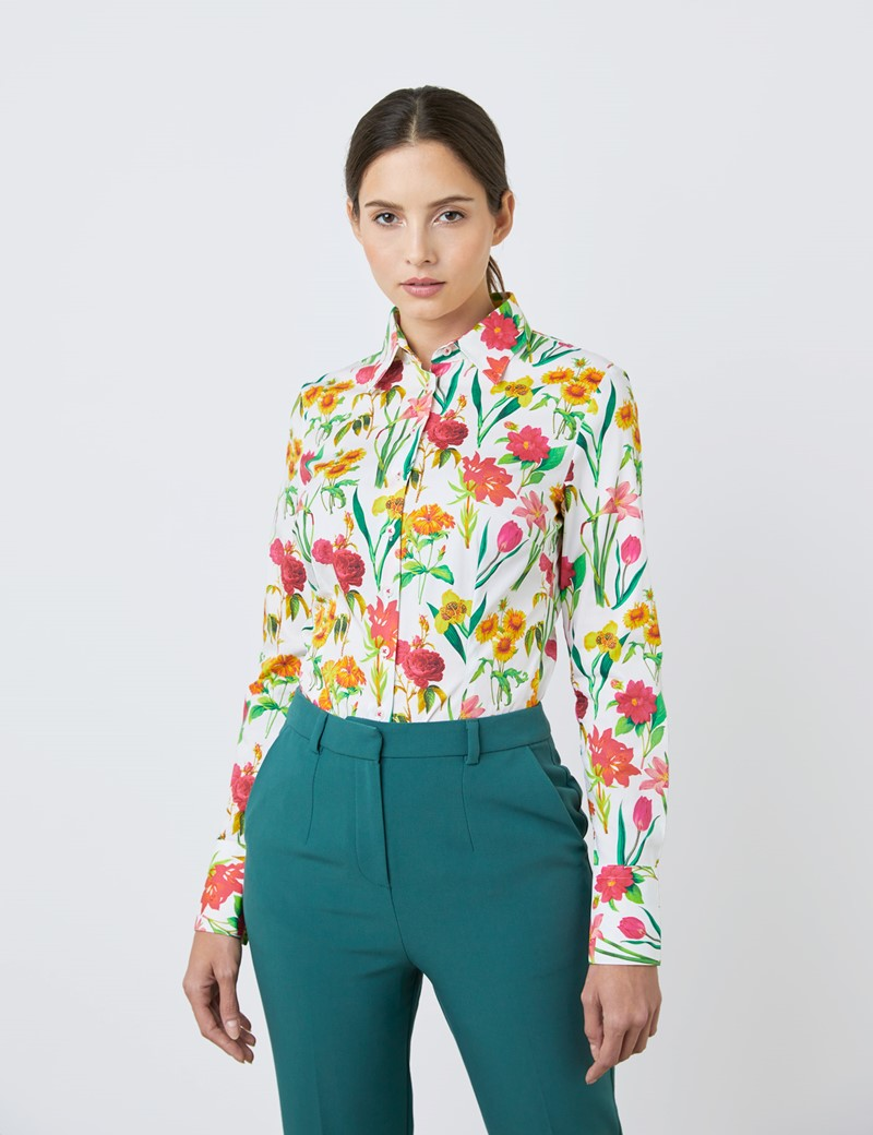 Women's White & Green Long Flowers Fitted Shirt