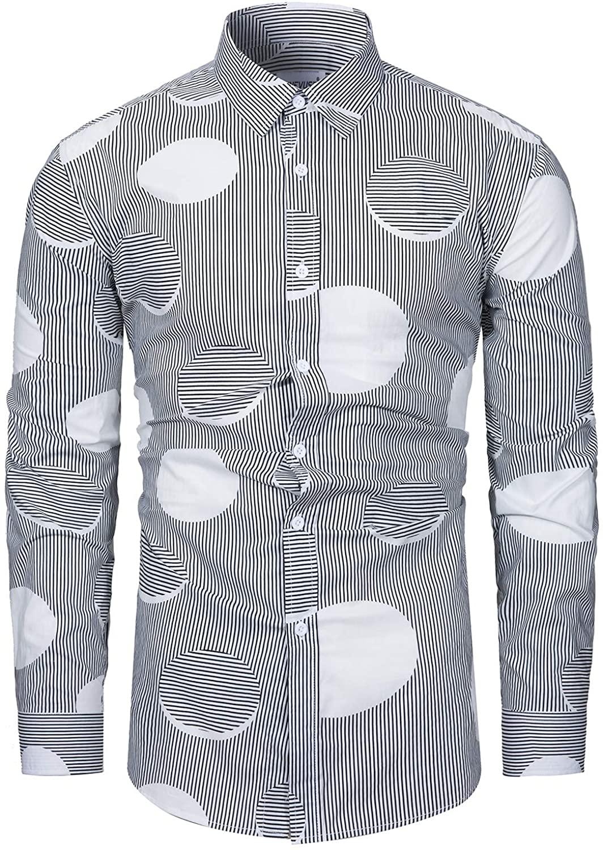 fohemr Mens Floral Printed Dress Shirts Long Sleeve Vintage Flower Casual Button Down Shirt