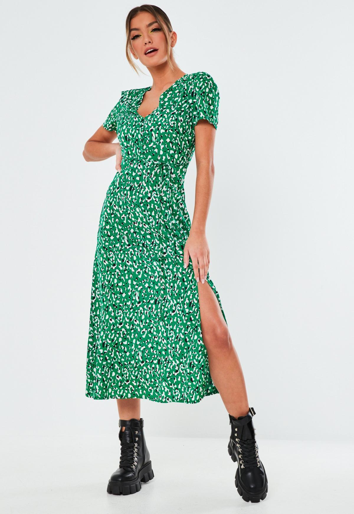 green leopard button midi tea dress