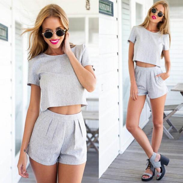 grey shorts, shorts, matching set, grey, high waisted short