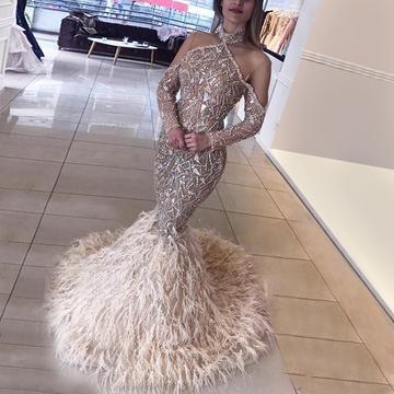 Long sleeve embellished halter dress
