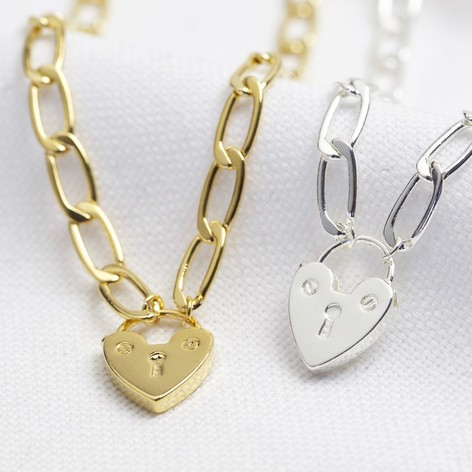 Padlock Necklace Sterling Silver, gold necklace