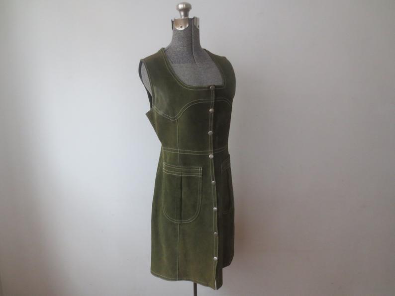 Vintage '60s Olive Suede GoGo Vest Dress