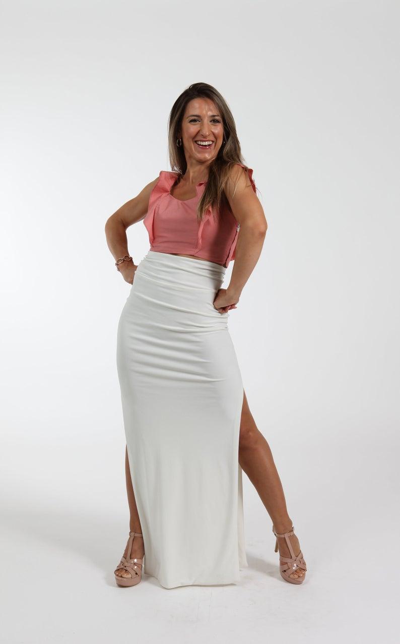 Ivory Double Slit Maxi Skirt