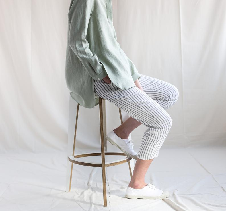 Linen cropped leg trousers in stripes
