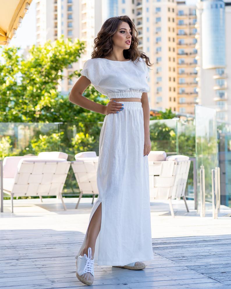 White Linen Maxi skirt with slits