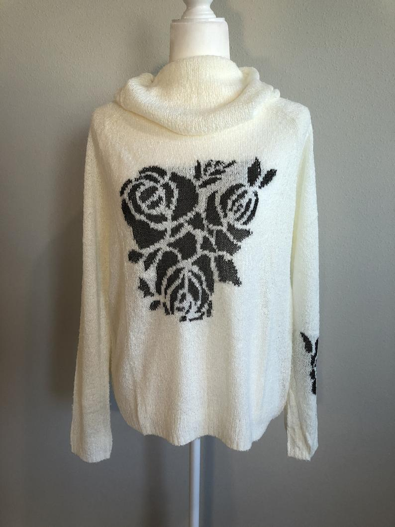 Cowl Neck Sweater with Flower Detail