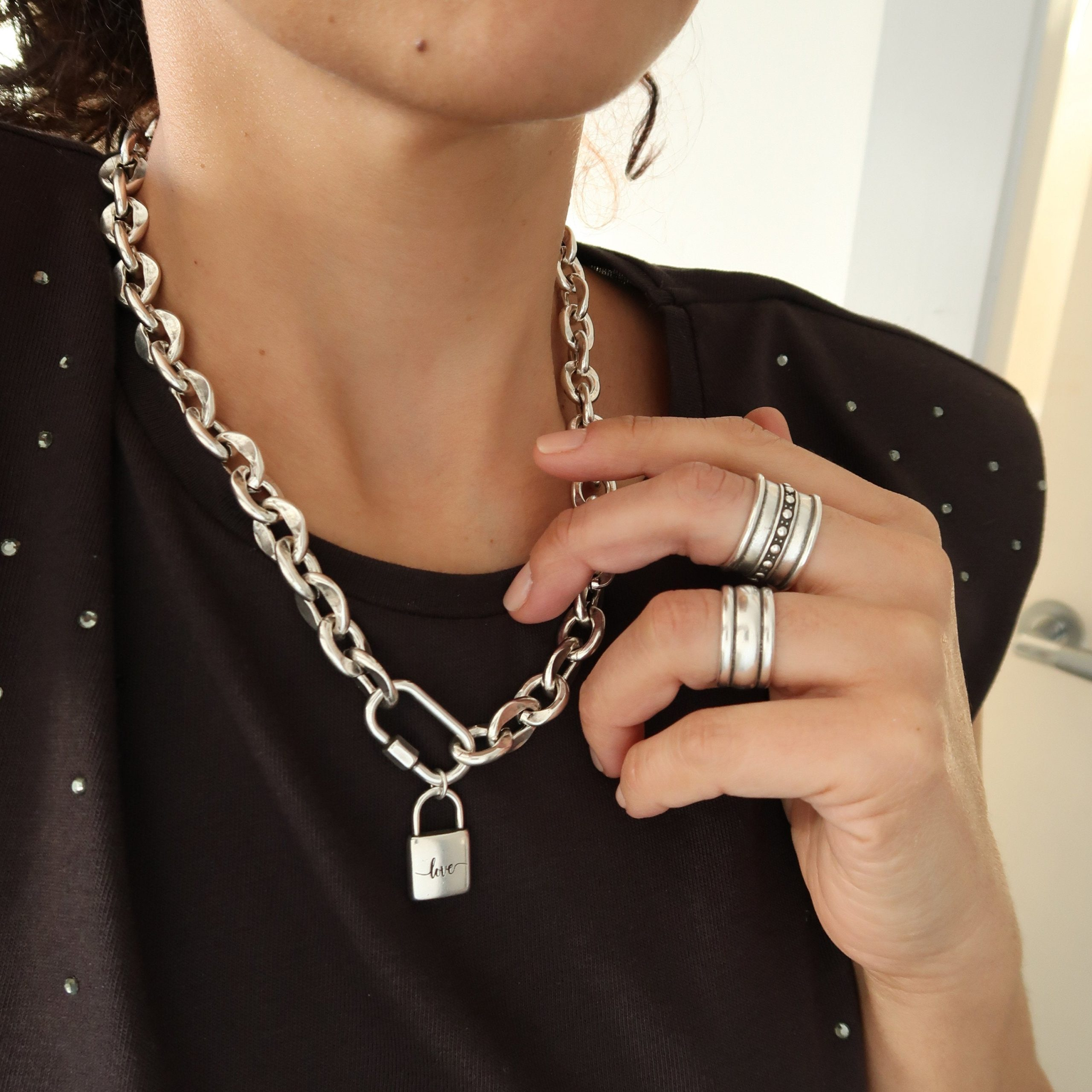 Silver CLIMBER CLIP with a Heart Padlock Chunky chain choker,