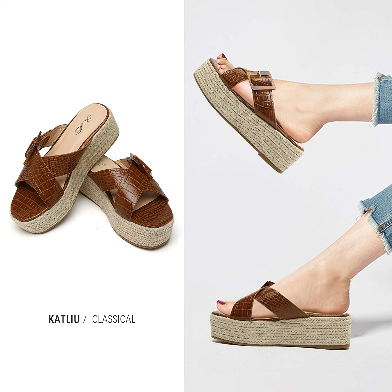 katliu Women's Platform Sandals, Open Toe Sliders